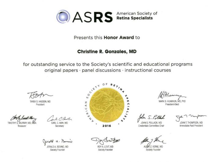 American Society of Retina Specialists Honor Award to Dr. Christine Gonzales